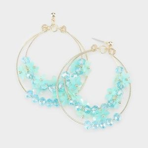 Turquoise Flower Beads Double Hoop Dangle Earrings